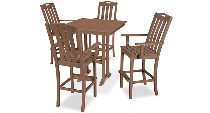 Yacht Club 5-Piece Farmhouse Trestle Arm Chair Bar Set